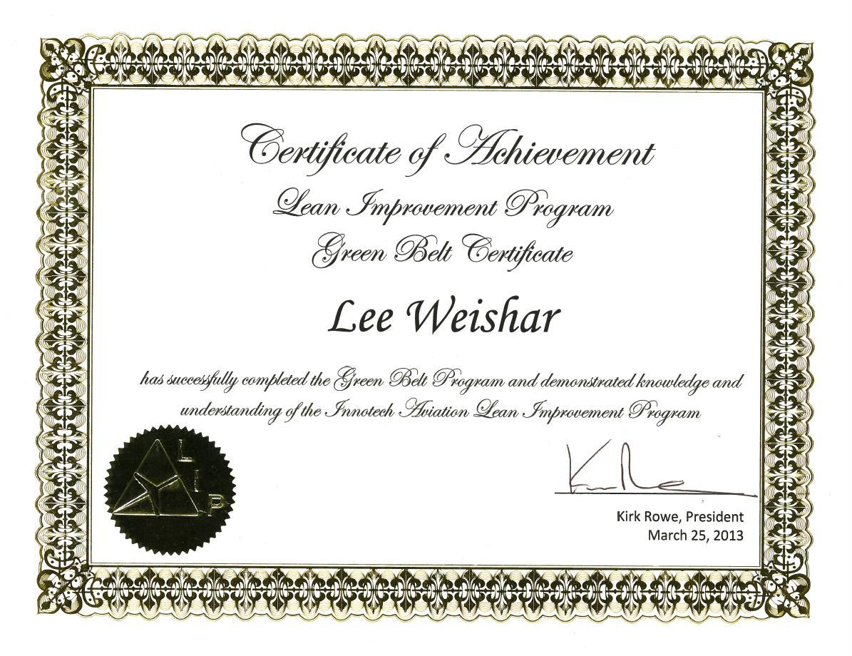 Lean six sigma green belt achieved use it in youre life green belt certificate xflitez Images