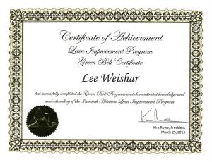 green belt certificate